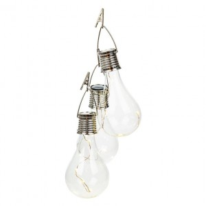 Соларна лампа-крушка с кукичка за окачва