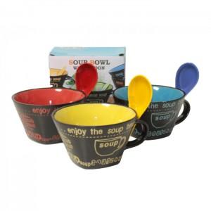 Купа за супа с дръжка и лъжица в кутия С33-11