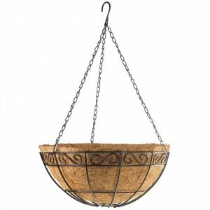 Кашпа висяща с орнаменти, D 300mm, метална с кокосова кошница