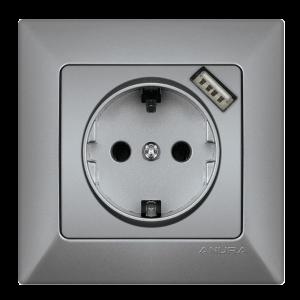 Контакт ANURA с USB, алуминиев цвят
