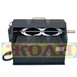 Барбекю 2в1 на дървени въглища с въртящ се електрически грил 220V